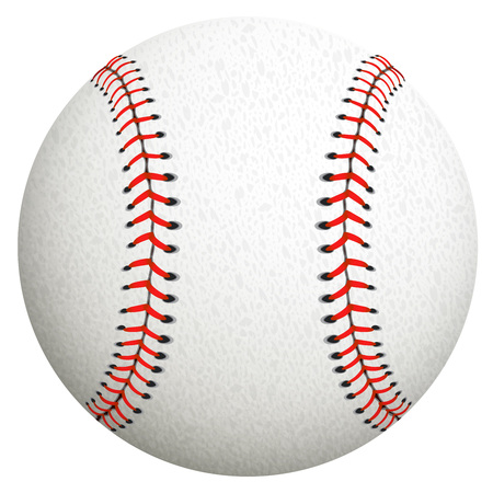 White baseball ball on a white background. Illustration