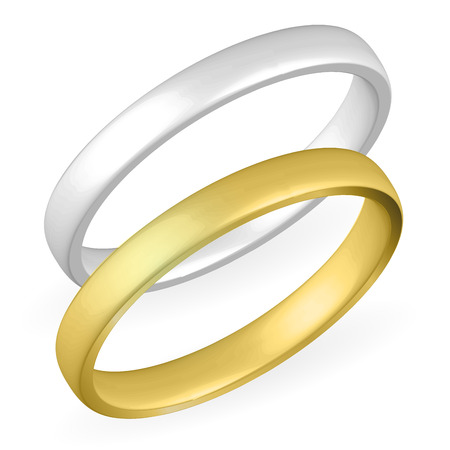silver ring: Realistic gold and silver ring on white background. Illustration