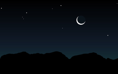 night moon: Silhouette of mountains against the sky with stars and moon. Illustration