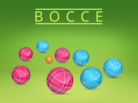 french boule: Set of colored balls scattered on a green background.