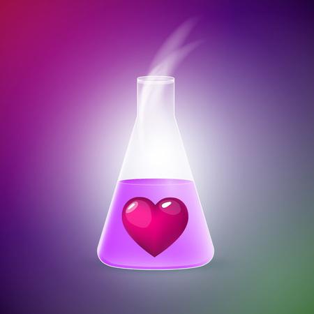 elixir: Tubo con un elixir de amor contra un fondo brillante. Vectores