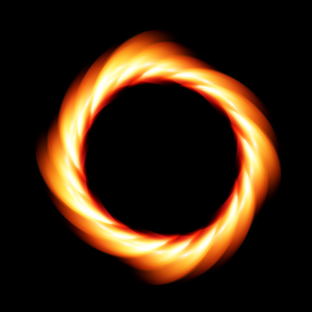 Realistic ring of fire on a black background.