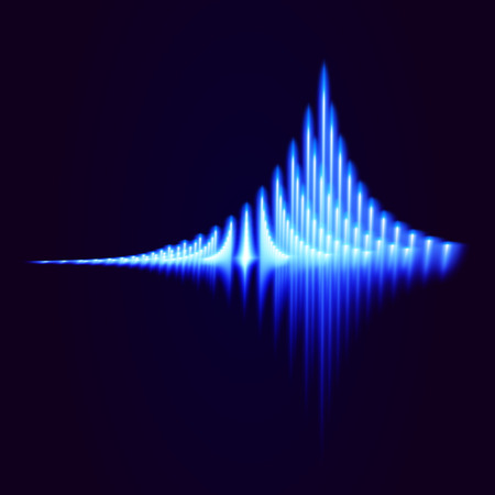 analyzer: Glowing bright equalizer on dark background. Vector illustration.