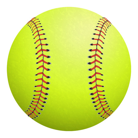Softball, yellow with red stitching on a white backdrop. Vectores