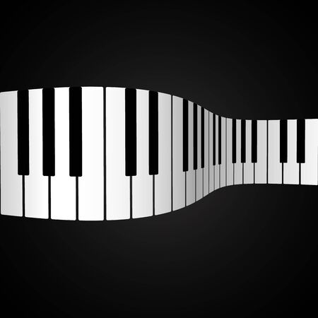 Piano keys on a dark background in the form of waves in 3D.