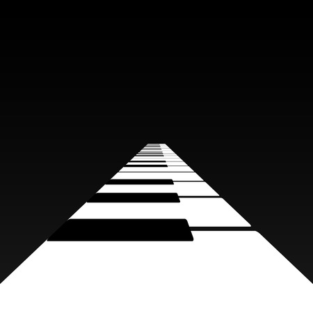 Piano keys in a road receding into the distance. Illustration
