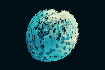 3D icy comet of polygons on a dark background. Illustration