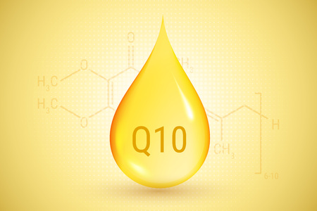 A drop of oil on the Q10 formula background. 向量圖像