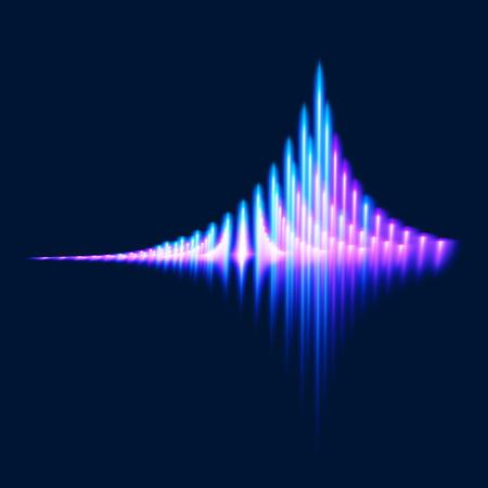 soundtrack: Glowing bright equalizer on dark background. Vector illustration.