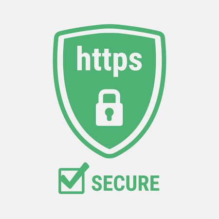 https: Closed padlock on a background of a green shield.