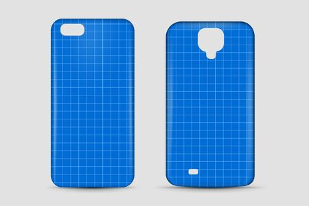 Blank phone case. Cover mockup. Vector illustration.