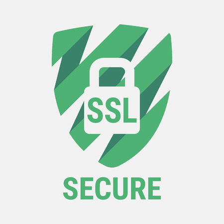 Icono mundial de la seguridad SSL. Los sitios web seguros y seguras en Internet. certificado SSL para el sitio. Ventaja TLS. Candado cerrado en un escudo verde. Icono material de Diseño. Ilustración del vector.