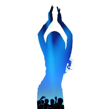 Young girl dancing oriental belly dancing. Silhouette of girl dancing Arabic dance. Performance on stage. Vector illustration