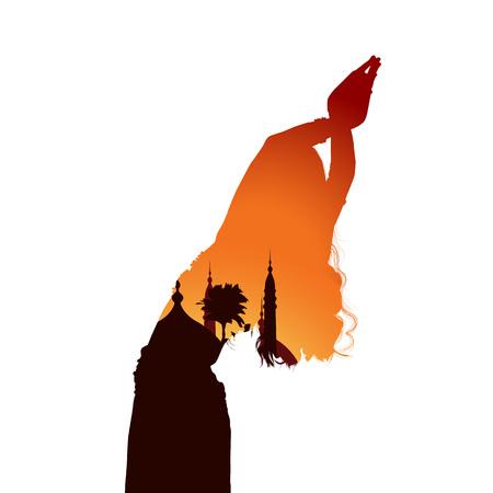 Young girl dancing oriental belly dancing. Silhouette of girl dancing Arabic dance. Evening landscape. Vector illustration