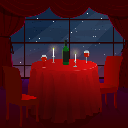 dinner date: A romantic date in a cafe. A romantic dinner for two. A table with a red cloth. The stars outside the window. Vector illustration.