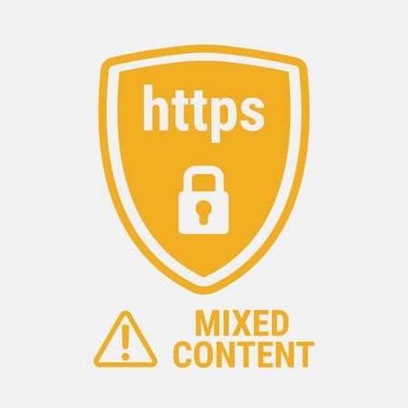 https: Closed padlock on a background of a yellow shield.