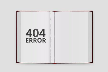 not open: Design page 404. Error - Not Found. Book without page. Open book a top view. Vector illustration