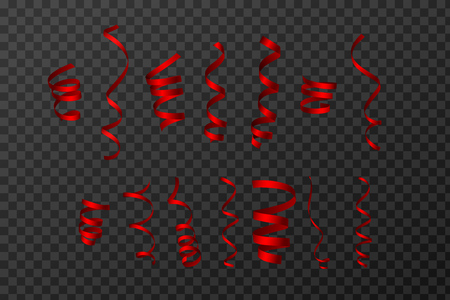 Red Curling Stream. Set realistic serpentine for design. Transparent Background. Vector Illustration