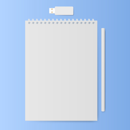 memo pad: Notebook with a pencil and usb memory stick. Notepad with blank white sheets. Vector illustration. Illustration