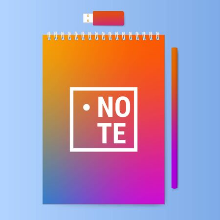 memo pad: Notebook with a pencil and usb memory stick. Notepad with a bright color cover. Vector illustration.