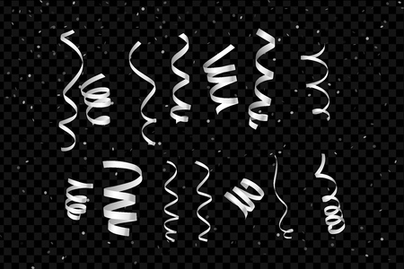 White Curling Stream. Set realistic serpentine for design. Dark Background. Vector Illustration