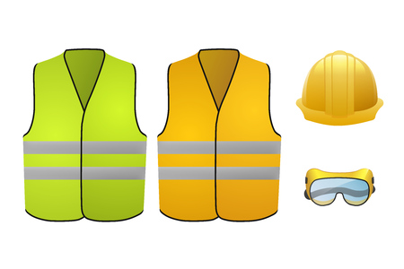 Orange and green safety vests. Safety equipment. Glasses and helmet. Vector Illustration isolated on white background Illustration
