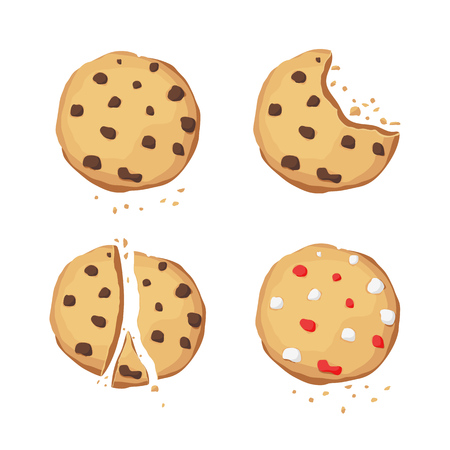 A set of chocolate cookies. Bitten, broken. Choco cookie icon. Vector illustration.