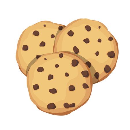 초콜릿 칩 쿠키. 초코 쿠키 아이콘. 벡터 일러스트 레이 션 일러스트