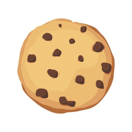 A chocolate chip cookie. Choco cookie icon. Vector illustration Ilustração