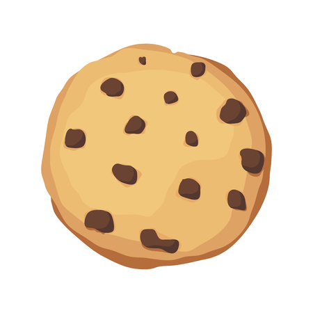 A chocolate chip cookie. Choco cookie icon. Vector illustration Vettoriali