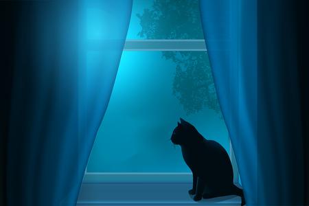 창에서 달의 빛 아래 창턱에 앉아 고양이의 실루엣. 일러스트
