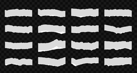 A set of 16 torn pieces of paper. Detail traced edges with villi paper. Vector illustration.