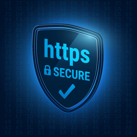 hexadecimal: 3D shiny shield. Secure https Protocol. Icon safe web. Closed lock. Hexadecimal code on a blue background. Vector illustration.
