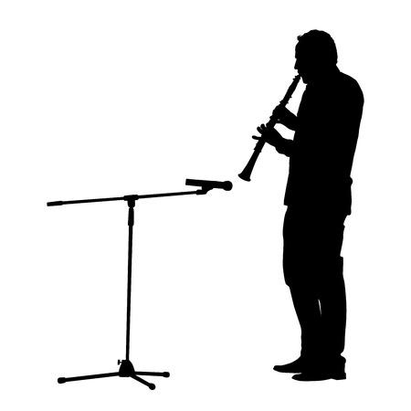 ミュージシャンのシルエット。  イラスト・ベクター素材