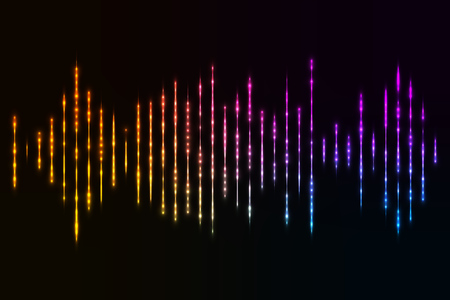 Colored sound waves on a dark background.