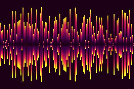 Gekleurde geluidsgolven op een donkere achtergrond.