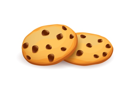 Realistic chocolate chip cookies image illustration 矢量图像