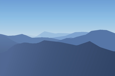 Cold mountain landscape foggy day landscape vector illustration. Иллюстрация
