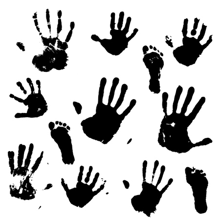 A set of prints of the hands and feet of an adult and a child. Vector illustration. Vectores