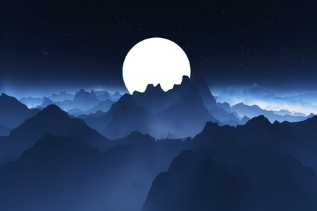 Night mountain landscape. Landscape with a big moon behind the mountains. Realistic vector illustration. Stok Fotoğraf - 100414663