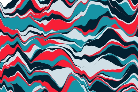 Vector striped background. Cool colorful geometric background with curved lines. Motion graphics. Vector illustration  イラスト・ベクター素材