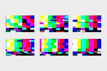A set of static glitches. No signal TV. TV screen. End of movie VHS. Digital glitch distortion. Vector illustration.  イラスト・ベクター素材