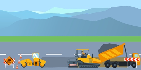 Road construction and road repair banner. Asphalt compactor road under construction repair road signs. Vector illustration  イラスト・ベクター素材