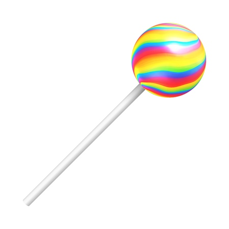 Rainbow lollipop on a white background. A realistic sweet candy. Vector illustration  イラスト・ベクター素材