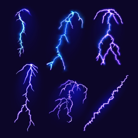 Set of thunderbolts on a dark background