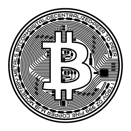Bitcoin coin on white background. Vector illustration