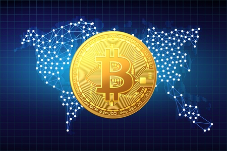 Golden bitcoin coin on the background of the map. Vector illustration