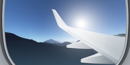 View from the airplane window. Mountain landscape. Panorama high above the mountains. Realistic vector illustration.