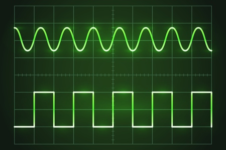 The green screen of an oscilloscope with waves  イラスト・ベクター素材