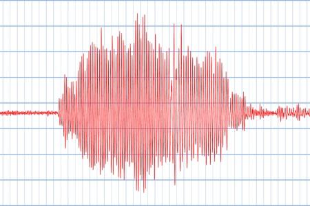 Sismogramma di diversi record di attività sismica. Segno di tremori sismici